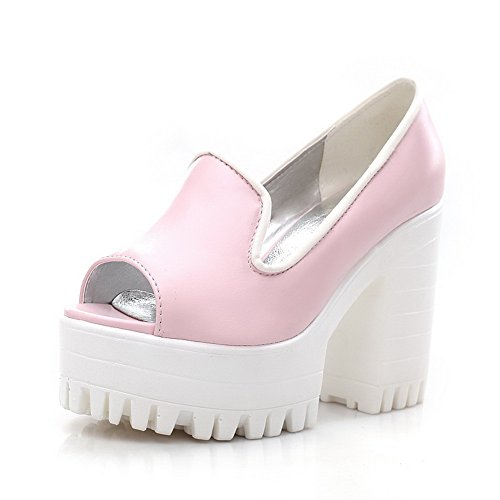 AalarDom Womens Peep Toe Pull-On PU Solid High-Heels Sandals Pink pfNvGFcz3c
