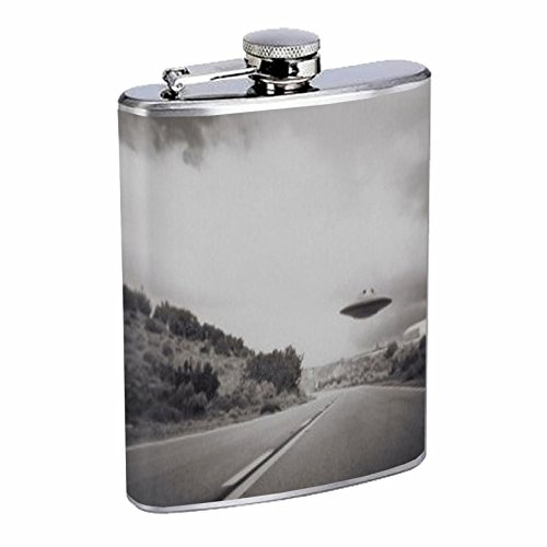 Stainless Steel 8oz Hip Silver Flask Retro Alien Abduction S6 Space Ship UFO Invaders Paranormal by American Packing & Gasket