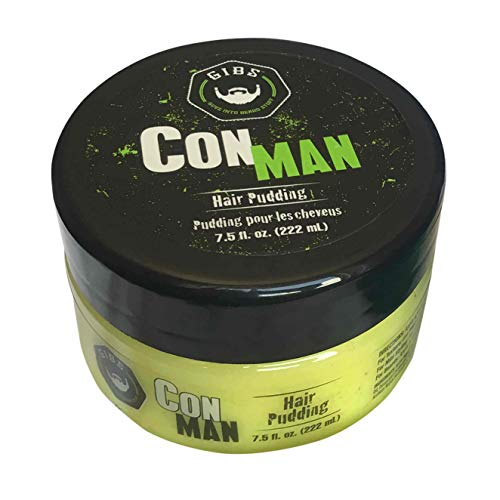 GIBS Grooming Con Man Hair & Beard Pudding -Styling Aid, Moisturizing Curl Definer, & Conditioner-with Cardamom, Petitgrain, Pepper & Oakmoss Scent, 7.5 Oz