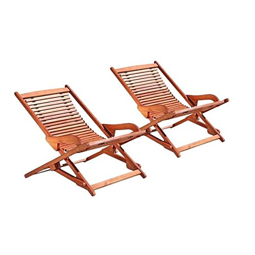 - Home Square Set of 2 Hardwood Chaise Lounge