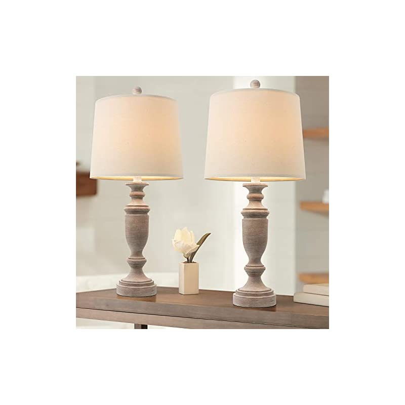 PORTRES 24.5'' Classic Table Lamp Set of 2 for Bedroom Desk Lamps for Living Room Kids Room Study Room Office Rustic…