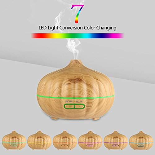 Aromatherapy Essential Oil Diffuser, 500ml Wood Grain Ultrasonic Cool Mist Whisper-Quiet Humidifier, 7 Colored LED Lights and Waterless Auto Shut-off for Home&Office by Aolvo (Image #5)