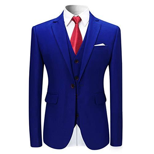pak 3 zakelijk Moderne Blauw blazer Allthemen voor Heren delig Slim Fit trouwfeest qXOq46wCB