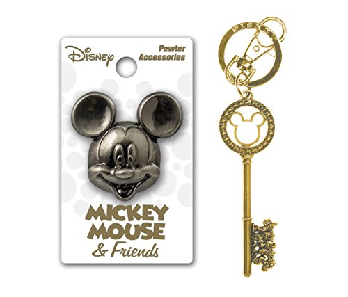 Mozlly Value Pack - Disney Mickey Mouse and Friends Pewter Lapel Pin and Mickey Mouse and Friends Master Key Gold Gemmed Key Chain - Item #K124016-124017