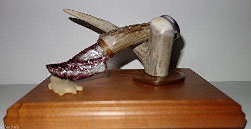Sm Skinner Purple Swirl Glass Flintknapped Knife on Elk Handle w/ Display (Handles Swirl)