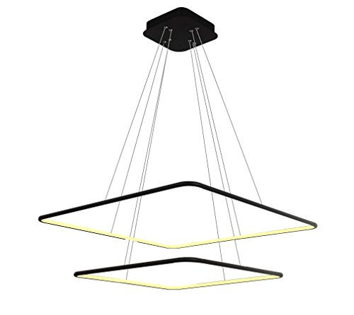 Royal Pearl Modern Square Led Chandelier Adjustable Hanging Light With 2 Rings Contemporary Ceiling Pendant Lighting H47