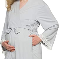 Silver Lilly Full Length Maternity Kimono Robe Lightweight Labor and Delivery Nursing Bathrobe for Moms