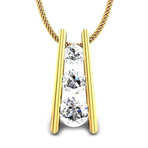 14K Yellow Gold 0.43 ctw Round White Diamonds Journey Pendant (IGI, I-J, SI1-SI2) by Candere