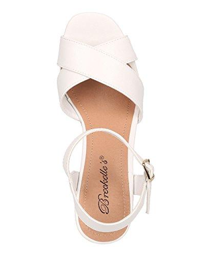 Breckelles Femme Sandale Compensée Compensée En Liège - Bride À La Cheville - Sandale Peep Toe - Hk37 Par Similicuir Blanc