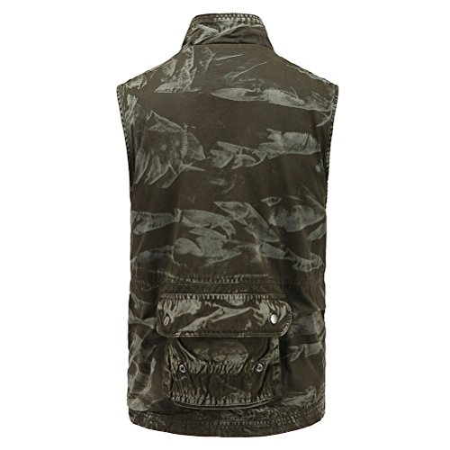 Waistcoat Verde M Mountain Mens Zhhlaixing Day Camouflage Vest Collar suave Stand Gift XXL for Outdoor Working Size Father's PwxqTt