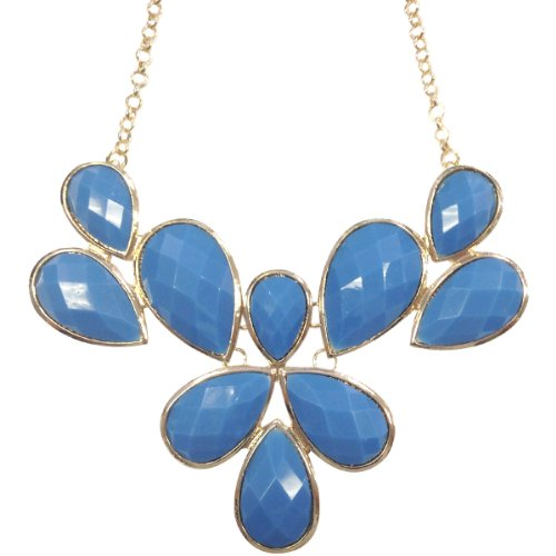Wrapables Fancy Drop Shape Bubble Bib Statement Necklace, Periwinkle (Bib Necklace Drop)
