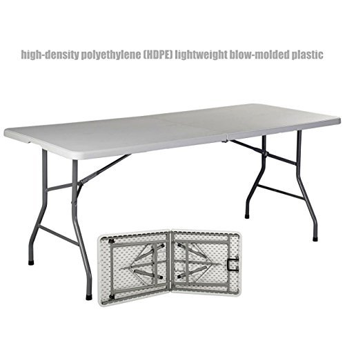 Commercial Construction Light-weight Portable Multipurpose 6ft High Density Plastic Powder Coated Steel Frame Folding Indoor Outdoor Table Picnic Camp Party Dining Laptop Desk #1179a by Koonlert@shop