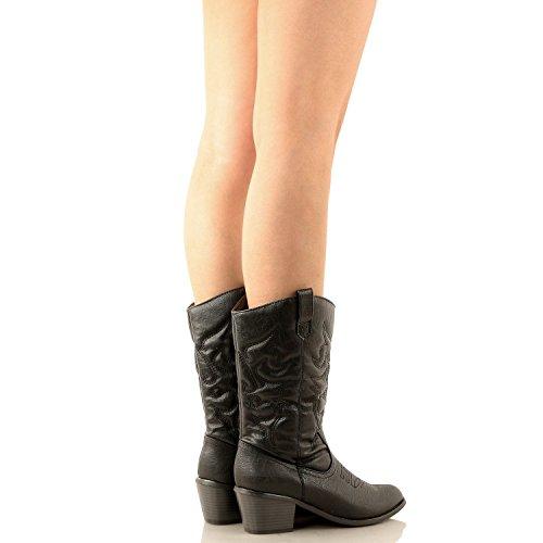 Nieuwste Hete Mode Mid Kalf Vrouwen Dev-1 Koe Jongen Westerse Slauchy Casual Dikke Hak Laars Schoenen Zwarte Miami