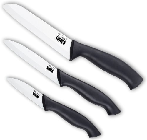 Asian Cooks Knife Set - Cooks Concept 3-Piece Ceramic Santoku Chef's and Paring Knife Set with Sheaths