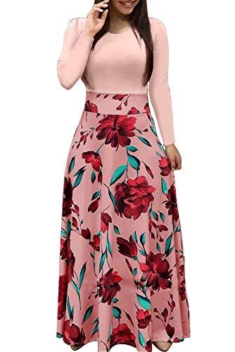 Demetory Women`s Summer 3/4 Sleeve Empire Waist Polka Dot Flowy Long Maxi Dress Pink Large