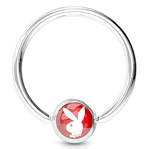 Captive Logo Nipple (Pierce2GO Red Playboy Nipple Ring, Licensed - 316L Surgical Steel, 14 Gauge - 1/2
