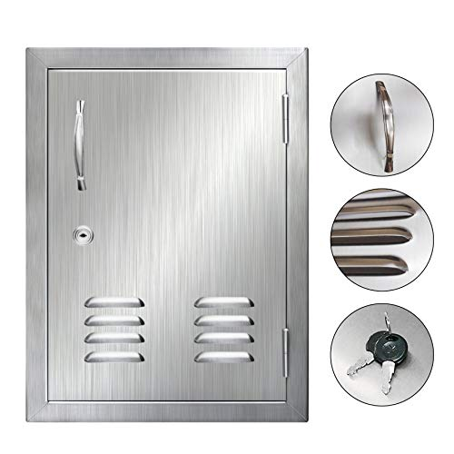 POPMOON Brushed Flushmount 304 Stainless Steel BBQ Access Door with Vents, Lock and Key for Outdoor Kitchen(14