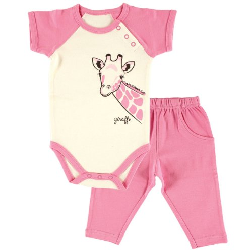 Touched by Nature Baby Organic Cotton Bodysuit and Pant 2 Piece Set, Giraffe, 3-6 ()