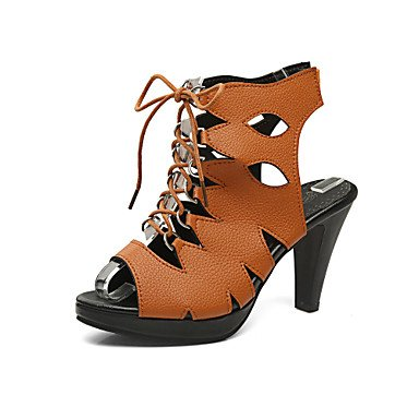 del Marrón Oscuro Blanco club Informal Zapatos brown LvYuan Tacón Cono light Negro Sandalias Semicuero PnxvYtqwz