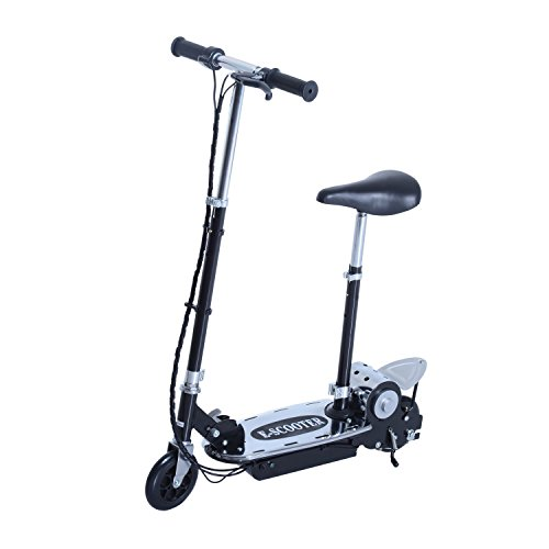 Aosom Black High-Powered 120W Motorized Kids Folding Electric Scooter with LED - Electric Razor Scooter E100