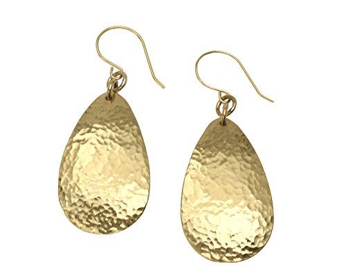 - Hammered Tear Drop Nu Gold Brass Earrings By John S Brana Handmade Jewelry Brass Earrings