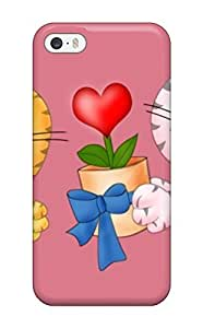 Cynthaskey Iphone 5/5s Well-designed Hard Case Cover Very Cute Animated Kitty Proposing Offering Flowers Protector