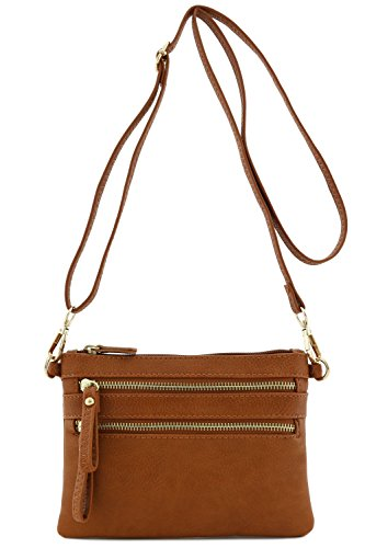 Multi Zipper Pocket Small Wristlet Crossbody Bag (Dark Tan)