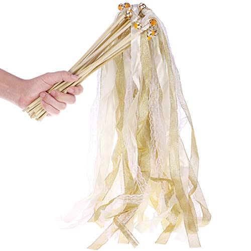SUPVOX 20PCS 20 Pack Ribbon Wands Wedding Streamers with Bells, Silk Fairy Stick Wand Party Favors for Party Activities Baby Shower Holiday Celebration (Beige)