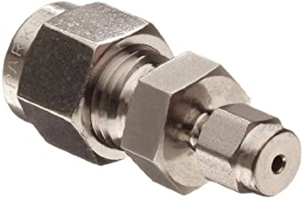 """Parker 4RU1-316 316 Stainless Steel A-LOK Reducing Union 1/4"""" Compression Fitting 1/16"""" Compression"""