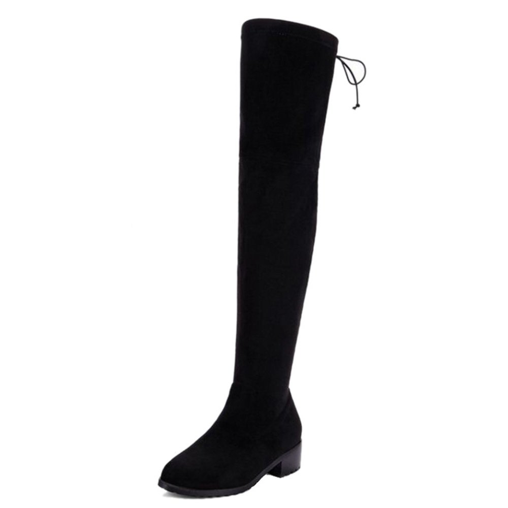 SJJH Women Over-The-Knee Boots with Nubuck Materail and Large Size All Match Women Flat Boots