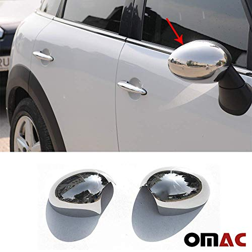 OMAC USA Stainless Steel Chrome Side Mirror Cover Cap Mirror Guard 2 pcs. for Mini Cooper R55 R56 R57 R60 R61