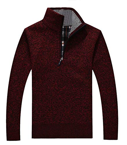 GAGA Mens Autumn Thicken Warm Ribbed Trim Mock Neck 1/2 Zip Sweater Wine Red XL