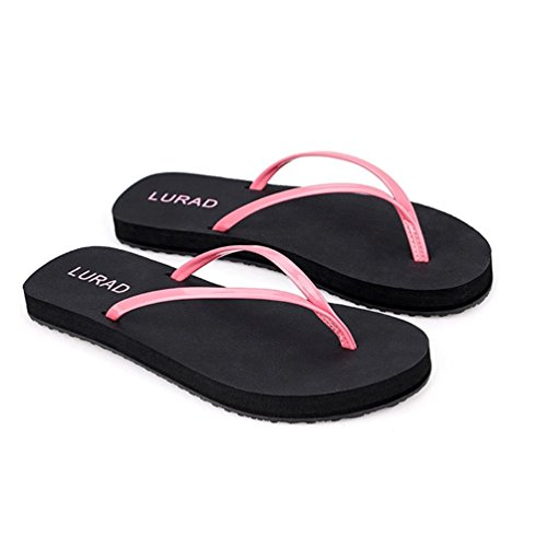 Holiday Flat Flops Sandals Flip Pink Casual Toe Baymate Beach Post Women wTqxp