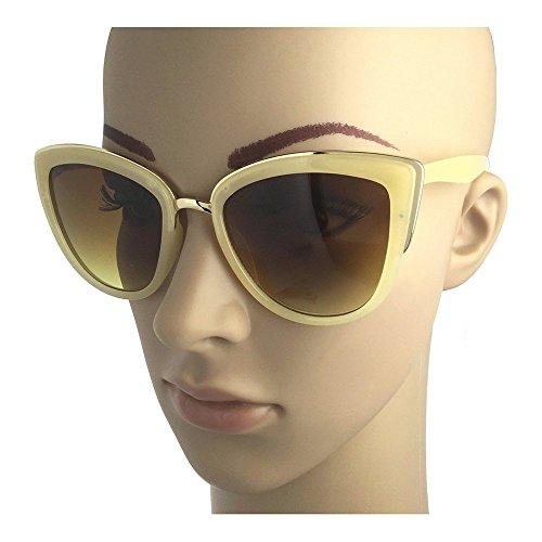 Kerkhoff Style Fashion Women's Sexy Large Cat Eye Celebrity Sunglasses Gold Rim - Sunglasses Cream Eye Cat