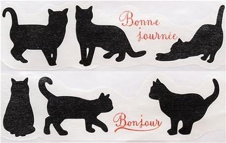 Pine Book Linda Cinta Decorativa troquelada Ancha con Gatos Negros y Texto en francés: Amazon.es: Juguetes y juegos