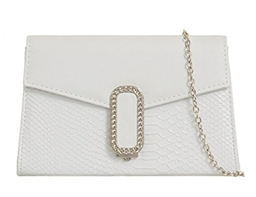 White Clutch Croc Pattern Pattern White handbag Croc Small Small 6q6IU