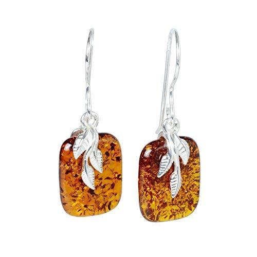 """Sterling Silver Baltic Honey Amber Earrings""""Fern"""""""