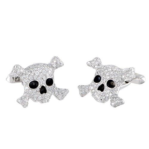 de Grisogono Intimo 18K White Gold Full Diamond and Black Enamel Skull Cufflinks