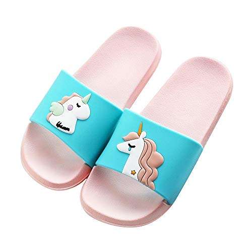 (Kids Unicorn Slide Sandals Non-Slip Summer Beach Water Shoes Boys Girls Shower Pool Slippers(Toddler/Little Kids) (10-10.5 M US Little Kid, Blue-A))