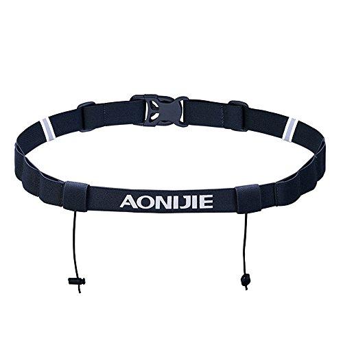 AONIJIE Men Women Triathlon Race Number Belt Marathon Running Belt with Gel Holder Belt ,Black