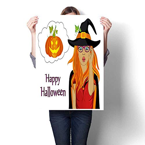 Wall hangings Halloween The Girl in The Suit and The Witch s hat is Very Surprised Wow Vector Greeting Card for The Holiday Empty Thinking Bubble Decorative Fine Art Canvas Print Poster K 32