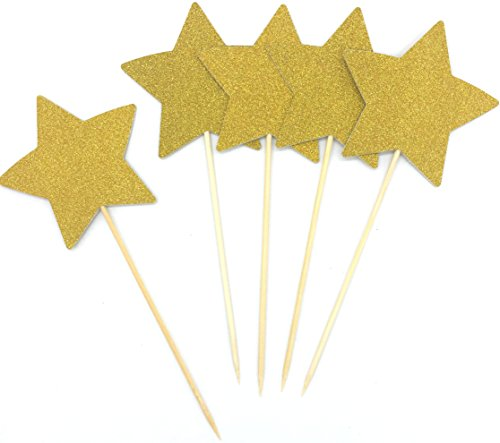 TooMeeCrafts Double Sided Gold Glitter Stars Cake Toppers Twinkle Twinkle Little Star Decorations Wedding Cake Toppers Pack of 12