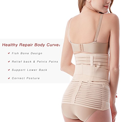 Postpartum Recovery Belly Wrap 3 Belts in 1, Post Pregnancy Support Band Girdle Binder Nude