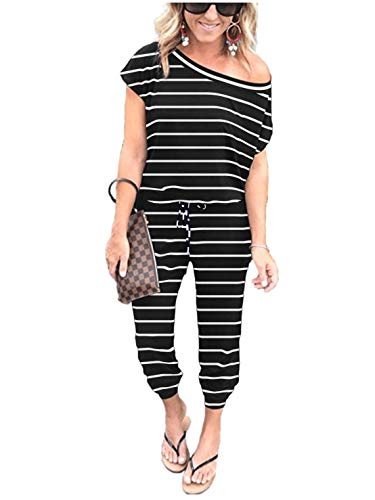 ANRABESS Women's Summer Jumpsuits Striped Keyhole Back Short Sleeve Off Shoulder Long Pants Rompers Black CX-heibai-S BYF-35