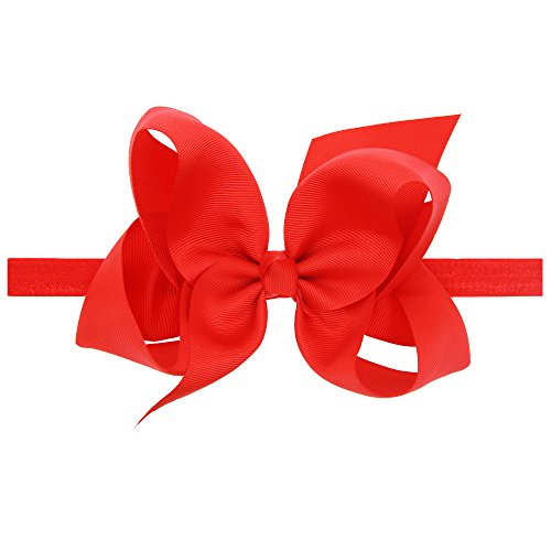 LD DRESS Baby Girls Infant Headbands With Kids Hair Bows(16) (Red)