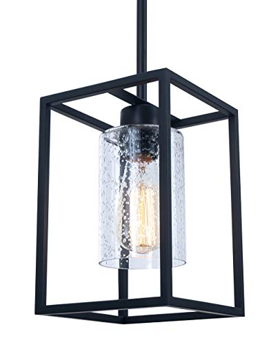 Vintage Glass Pendant Light, Single Light Metal Wire Cage Hanging Pendant Lighting, Black with Clear Seeded Glass Shade Classic for Farmhouse, Entryway, Dining Room, Kitchen Island, Foyer Classic Bronze Foyer Pendant