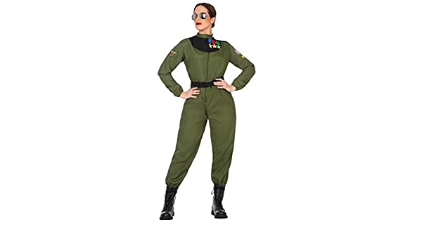 Atosa-50879 Disfraz mujer militar piloto, color verde, M-L (50879 ...