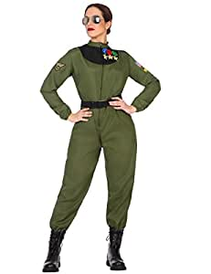 Atosa-50880 Disfraz mujer militar piloto Color verde XL (50880
