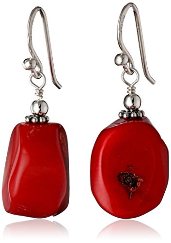 Red Coral Earrings - Barse Basics Red Bamboo Coral Drop Earrings