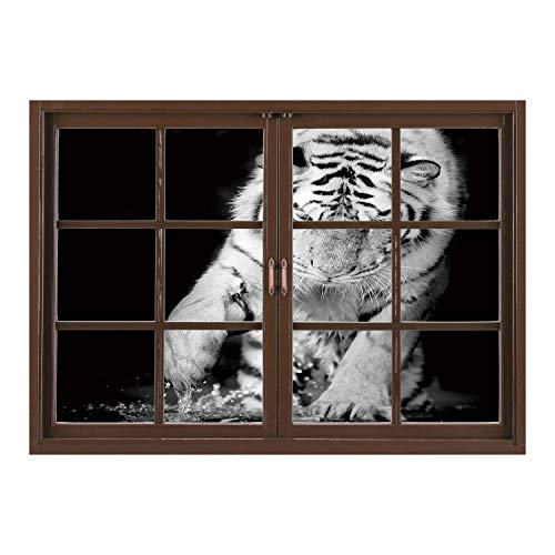 SCOCICI Wall Sticker,Window Looking Out Into/Tiger,Black and White Image of Large Cat Playing with Water Cool Animals Fun Hunter Decorative,Black Light Grey/Wall Sticker (Large White Oval Exterior Light)